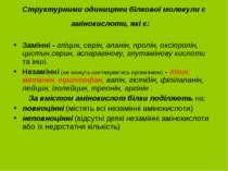 Структурними одиницями білкової молекули є амінокислоти, які є: Замінні - глі...