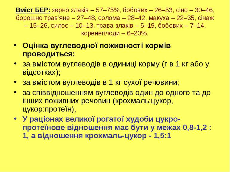 Вміст БЕР: зерно злаків – 57–75%, бобових – 26–53, сіно – 30–46, борошно трав...