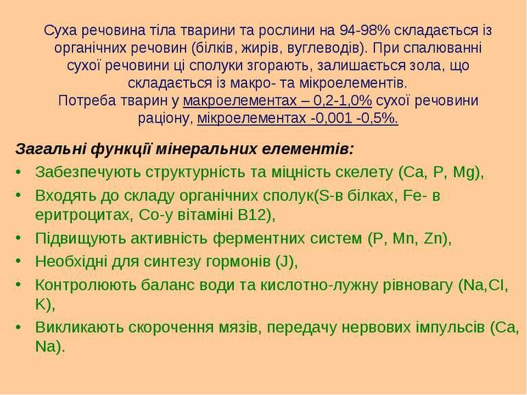 Суха речовина тіла тварини та рослини на 94-98% складається із органічних реч...