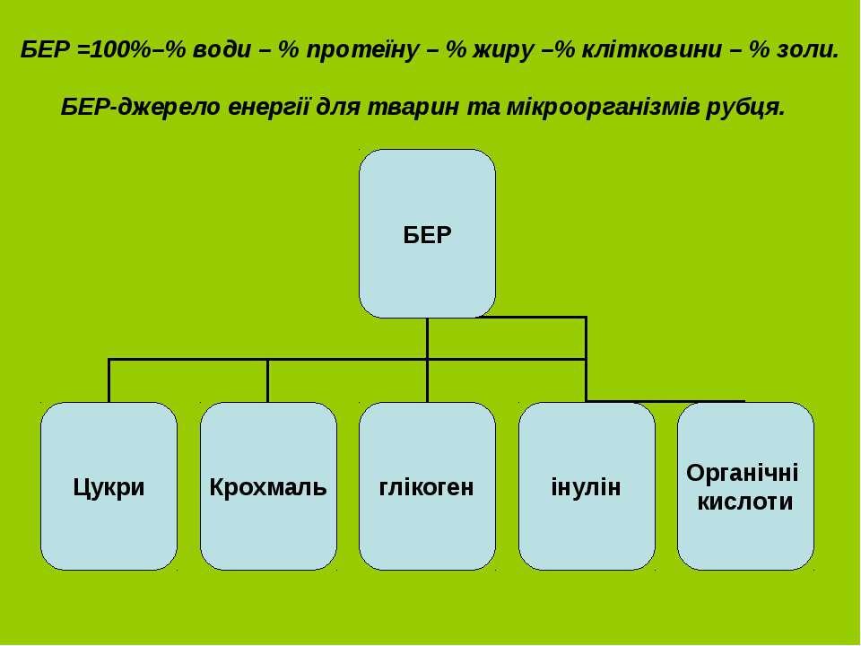 БЕР =100%–% води – % протеїну – % жиру –% клітковини – % золи. БЕР-джерело ен...