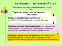 Запалення - початковий етап Локальні медіатори запалення (простагландини, лей...