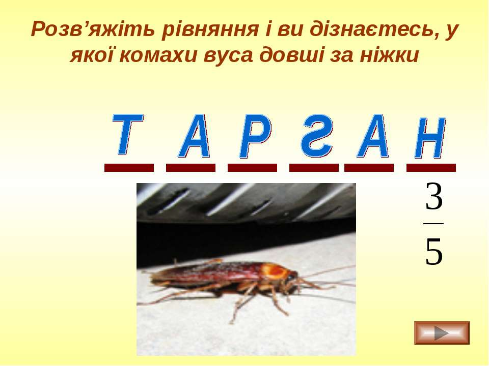 Розв'яжіть рівняння і ви дізнаєтесь, у якої комахи вуса довші за ніжки