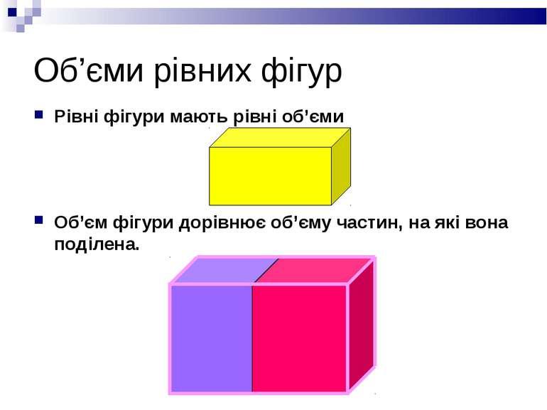 Об'єми рівних фігур Рівні фігури мають рівні об'єми Об'єм фігури дорівнює об'...