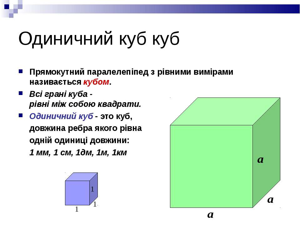 Одиничний куб куб Прямокутний паралелепіпед з рівними вимірами називається ку...