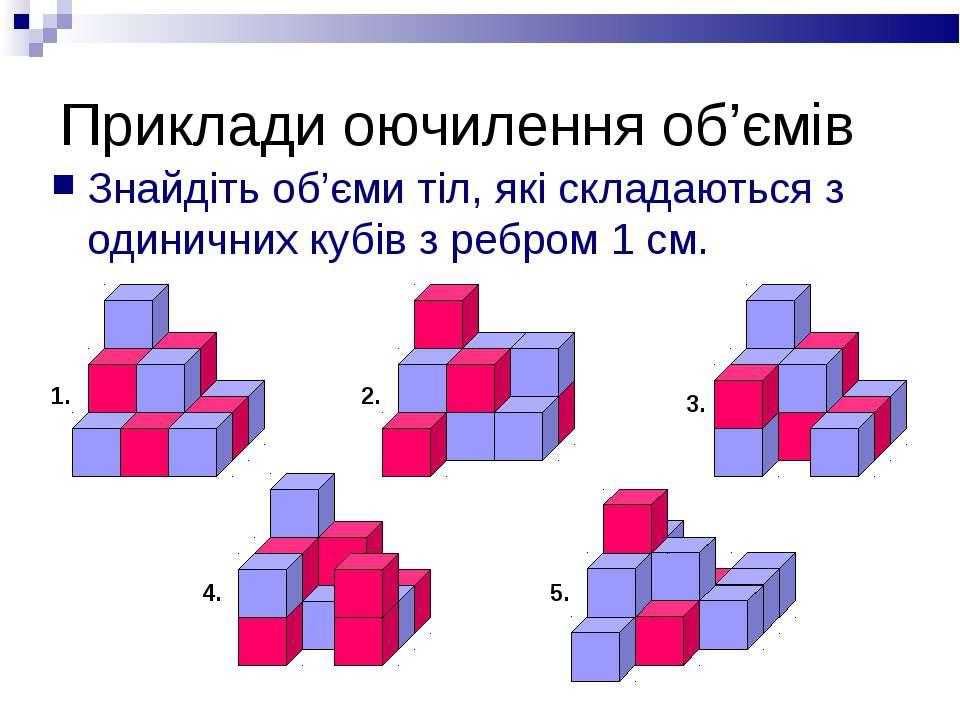 Приклади оючилення об'ємів Знайдіть об'єми тіл, які складаються з одиничних к...