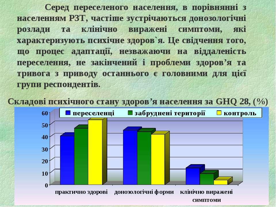Серед переселеного населення, в порівнянні з населенням РЗТ, частіше зустріча...