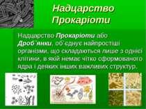 Надцарство Прокаріоти Надцарство Прокаріоти або Дроб`янки, об`єднує найпрості...