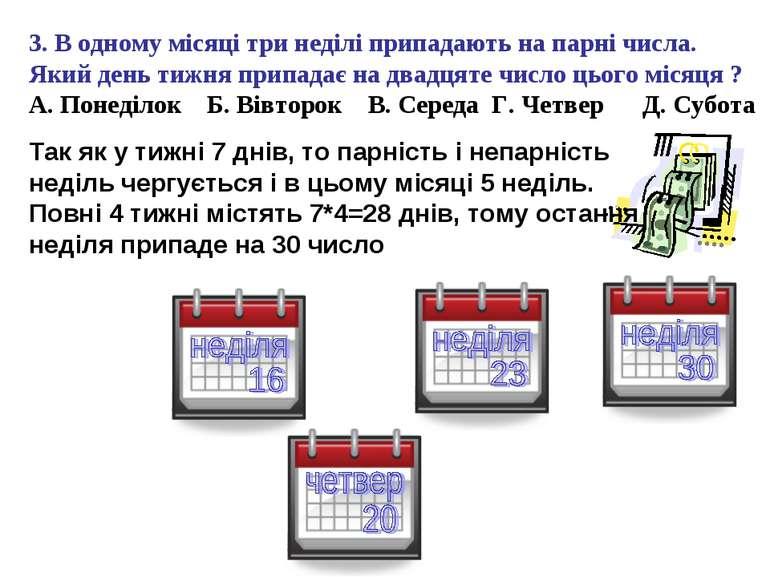 3. В одному місяці три неділі припадають на парні числа. Який день тижня прип...