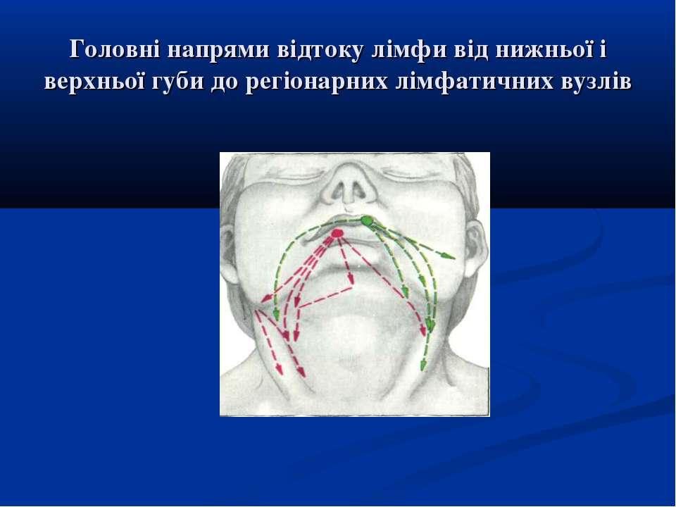 Головні напрями відтоку лімфи від нижньої і верхньої губи до регіонарних лімф...