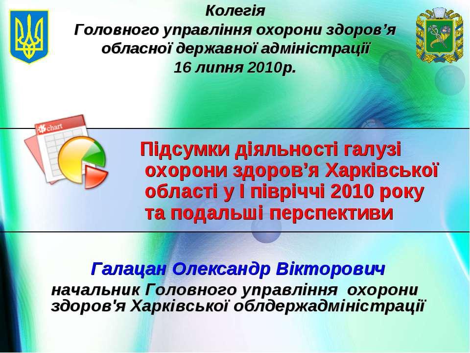 Галацан Олександр Вікторович начальник Головного управління охорони здоров'я ...