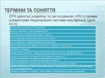 ЄРК орієнтує розробку та застосування НРК із такими елементами Національної с...