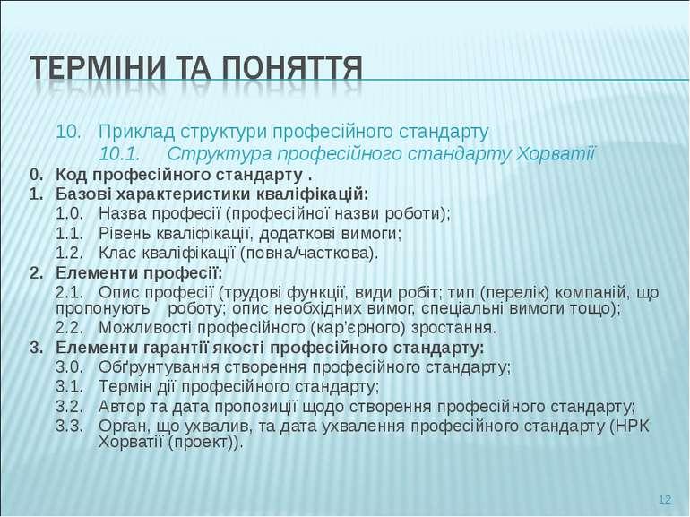 10. Приклад структури професійного стандарту 10.1. Структура професійного ста...