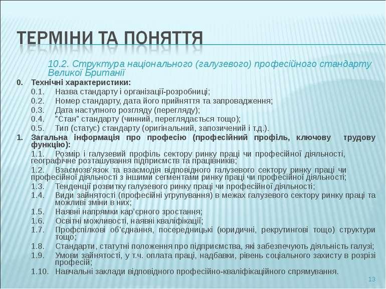10.2. Структура національного (галузевого) професійного стандарту Великої Бри...