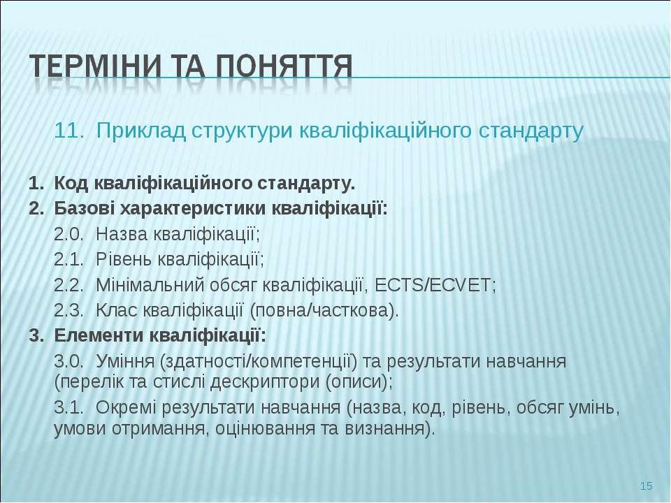 11. Приклад структури кваліфікаційного стандарту 1. Код кваліфікаційного стан...