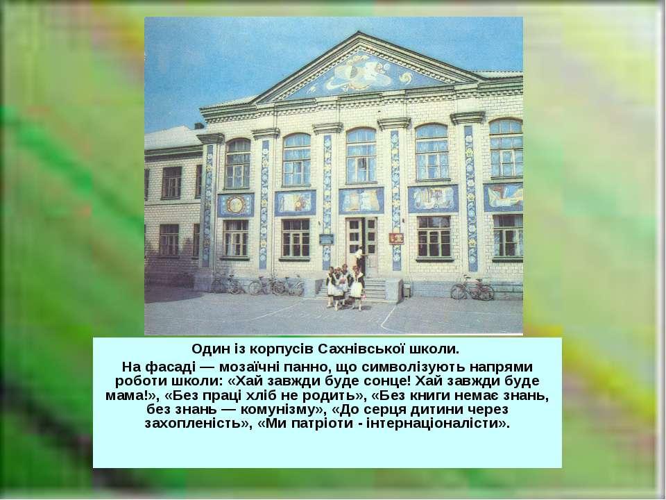 Один із корпусів Сахнівської школи. На фасаді — мозаїчні панно, що символізую...