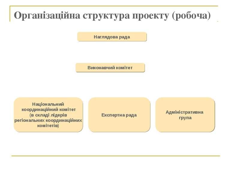 Організаційна структура проекту (робоча) Наглядова рада Виконавчий комітет На...