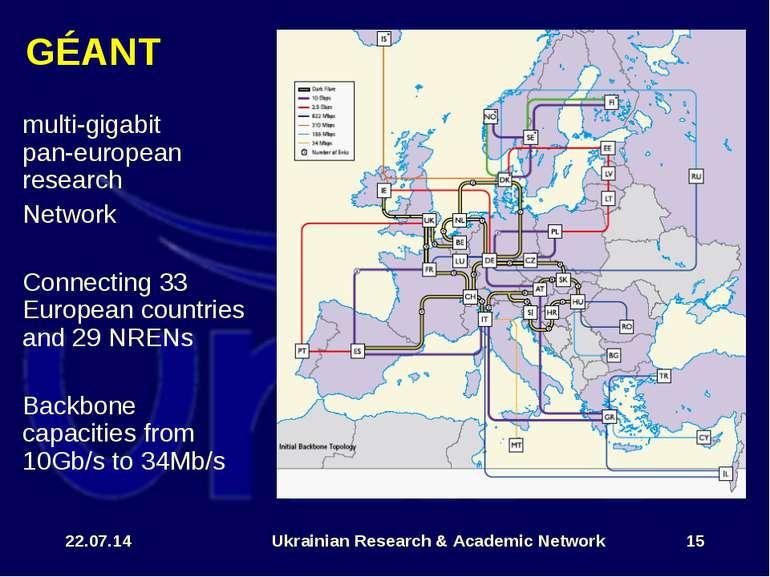 * Ukrainian Research & Academic Network * GÉANT multi-gigabit pan-european re...