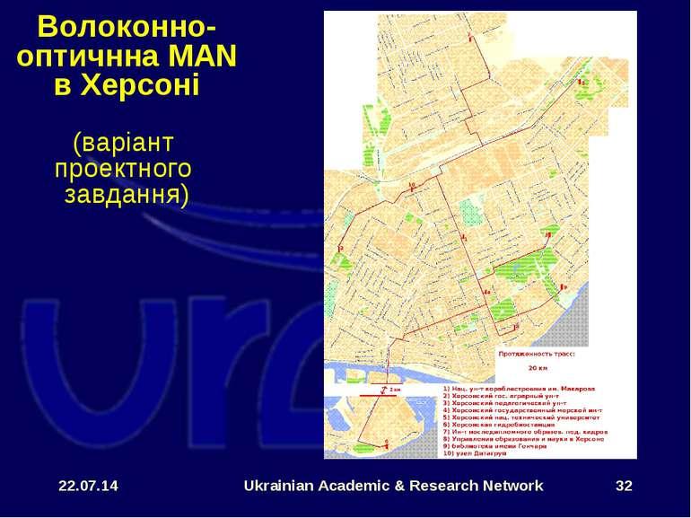 * Ukrainian Academic & Research Network * Волоконно-оптичнна MAN в Херсоні (в...