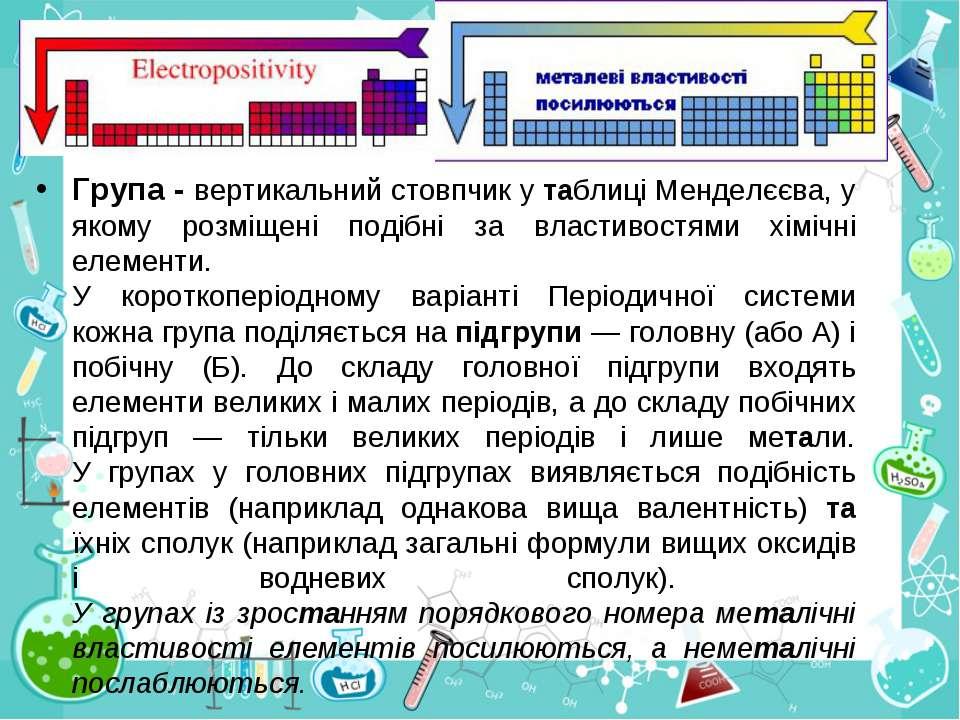 Група - вертикальний стовпчик у таблиці Менделєєва, у якому розміщені подібні...