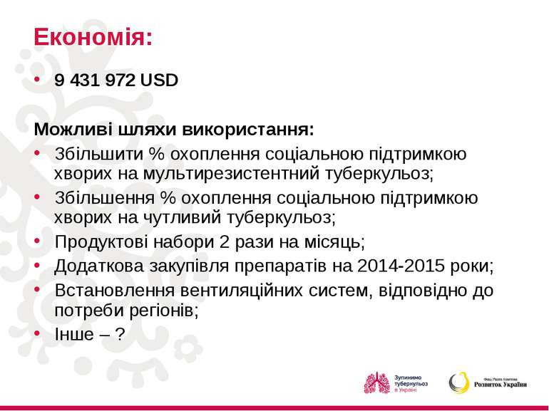 Економія: 9 431 972 USD Можливі шляхи використання: Збільшити % охоплення соц...