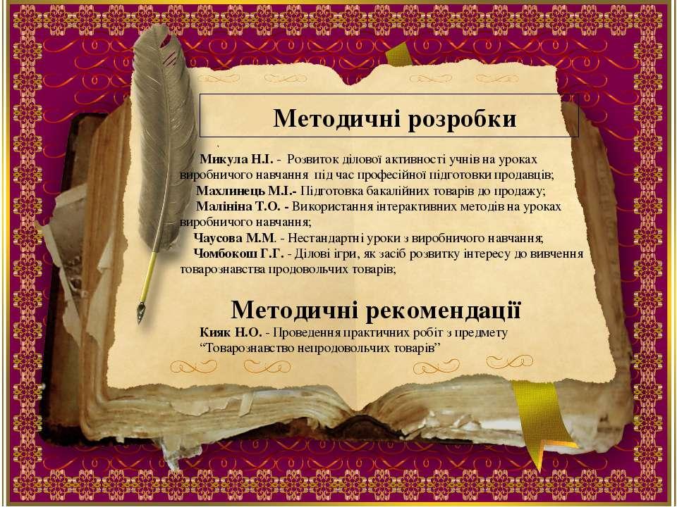 Методичні розробки Микула Н.І. - Розвиток ділової активності учнів на уроках ...