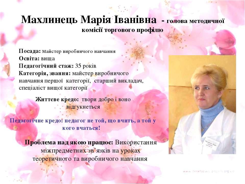 Махлинець Марія Іванівна - голова методичної комісії торгового профілю Посада...