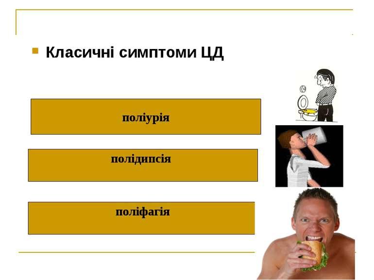 Класичні симптоми ЦД поліурія полідипсія поліфагія