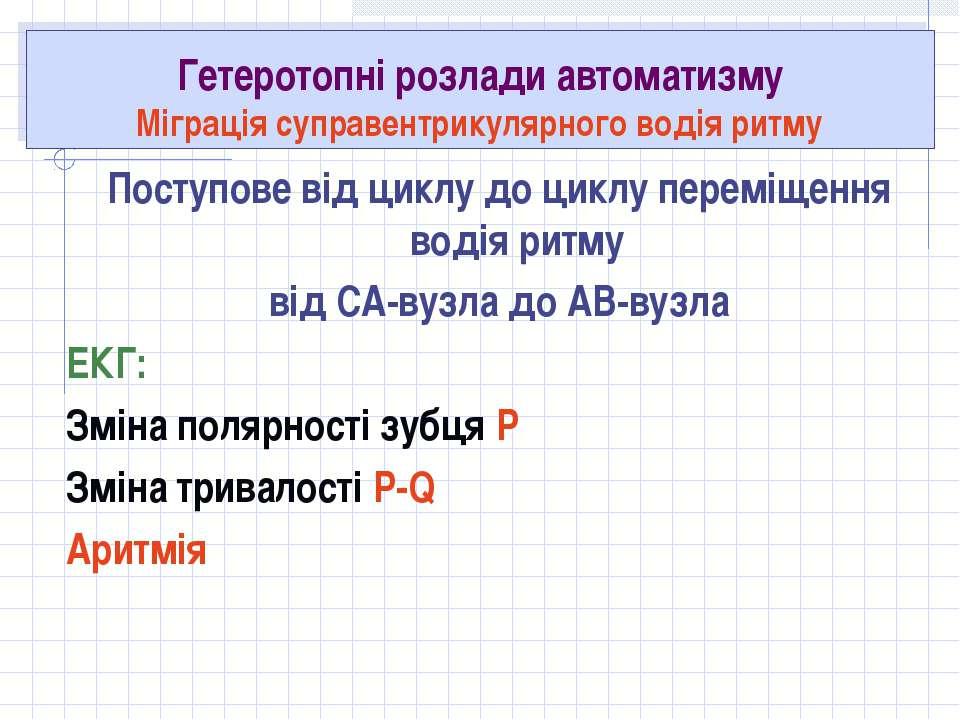 Гетеротопні розлади автоматизму Міграція суправентрикулярного водія ритму Пос...
