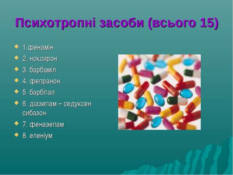 Психотропні засоби (всього 15) 1.фенамін 2. ноксирон 3. барбаміл 4. фепранон ...