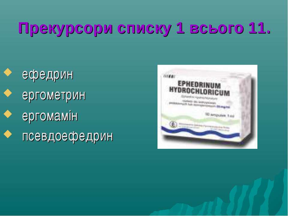 Прекурсори списку 1 всього 11. ефедрин ергометрин ергомамін псевдоефедрин