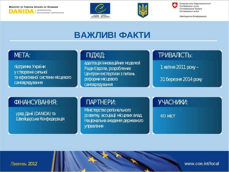 Липень 2012 www.coe.int/local ВАЖЛИВІ ФАКТИ підтримка України у створенні сил...