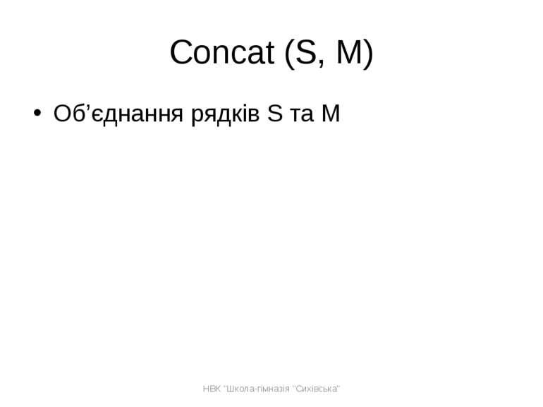 """Concat (S, M) Об'єднання рядків S та M НВК """"Школа-гімназія """"Сихівська"""" НВК """"Ш..."""