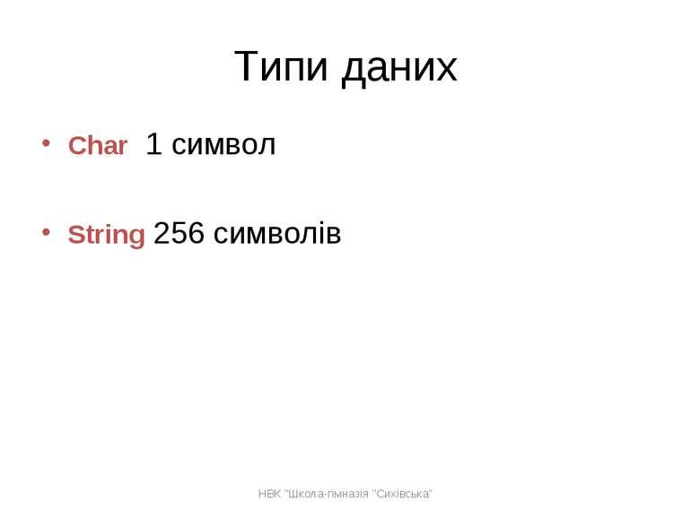 """Типи даних Char 1 символ String 256 символів НВК """"Школа-гімназія """"Сихівська"""" ..."""