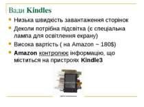 Вади Kindles Низька швидкість завантаження сторінок Деколи потрібна підсвітка...