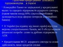 Проблеми кредитування сільського підприємництва в Україні Комерційні банки не...