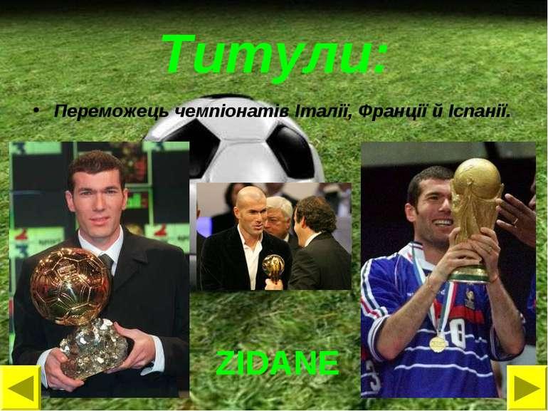 Титули: Переможець чемпіонатів Італії, Франції й Іспанії. ZIDANE