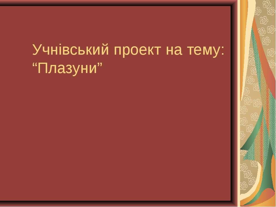 """Учнівський проект на тему: """"Плазуни"""""""