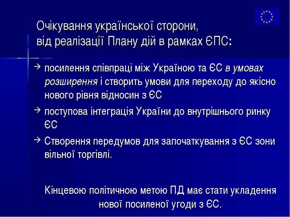 Очікування української сторони, від реалізації Плану дій в рамках ЄПС: посиле...