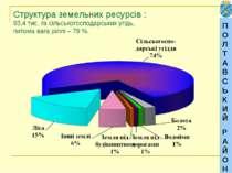 ПОЛТАВСЬКИЙ РАЙОН Структура земельних ресурсів : 93,4 тис. га сільськогоспода...