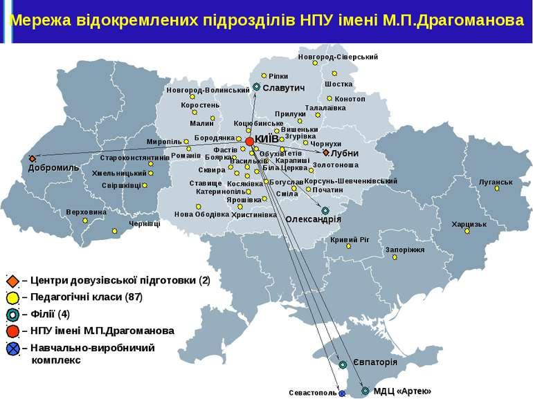 Мережа відокремлених підрозділів НПУ імені М.П.Драгоманова КИЇВ Славутич Євпа...