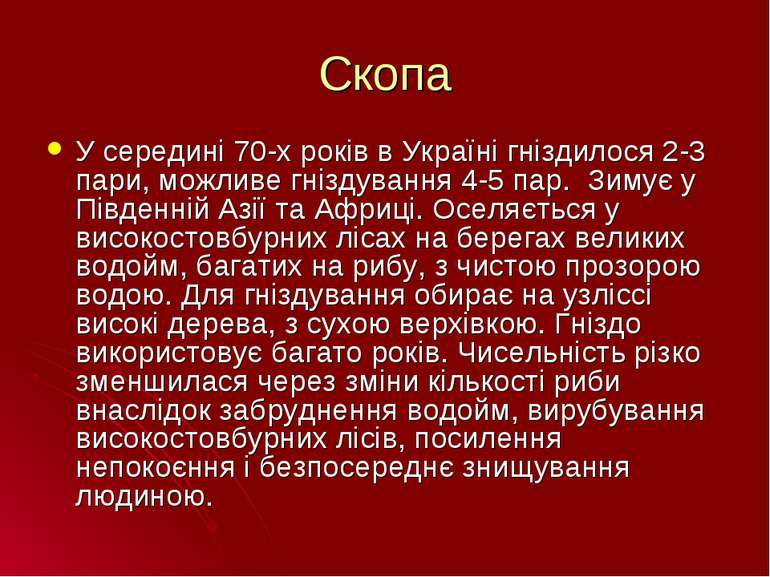 Скопа У середині 70-х років в Україні гніздилося 2-3 пари, можливе гніздуванн...