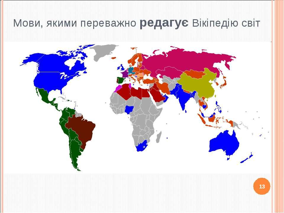 Мови, якими переважно редагує Вікіпедію світ 13