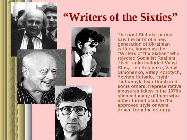 """Writers of the Sixties"" The post-Stalinist period saw the birth of a new gen..."
