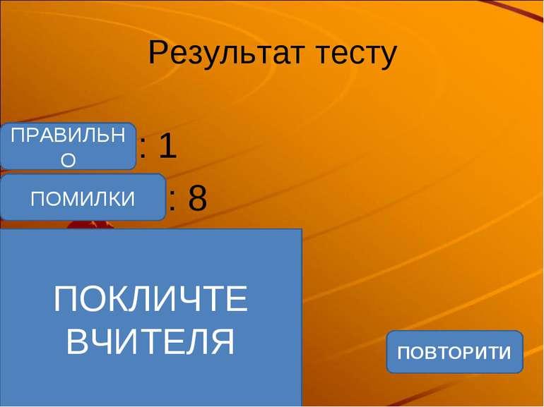 Результат тесту Верно: 1 Ошибки: 8 Отметка: 2 Время: 0 мин. 6 сек. ПОВТОРИТИ ...