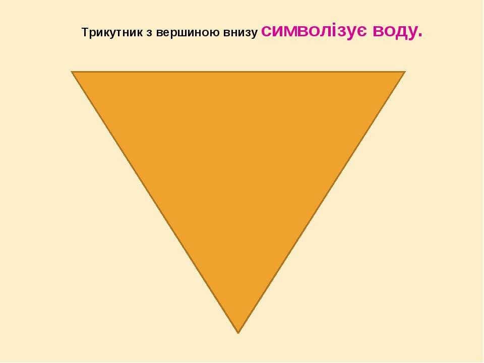 Трикутник з вершиною внизу символізує воду.