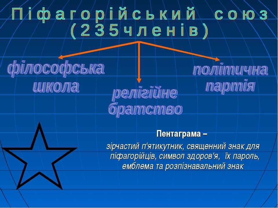 Пентаграма – зірчастий п'ятикутник, священний знак для піфагорійців, символ з...