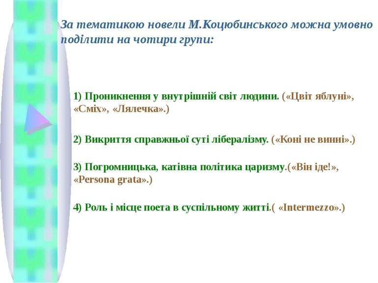 За тематикою новели М.Коцюбинського можна умовно поділити на чотири групи: 1)...