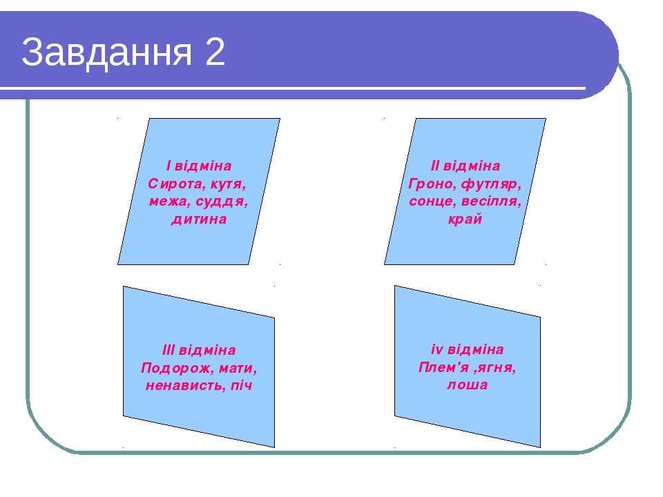 Завдання 2 II відміна Гроно, футляр, сонце, весілля, край I відміна Сирота, к...