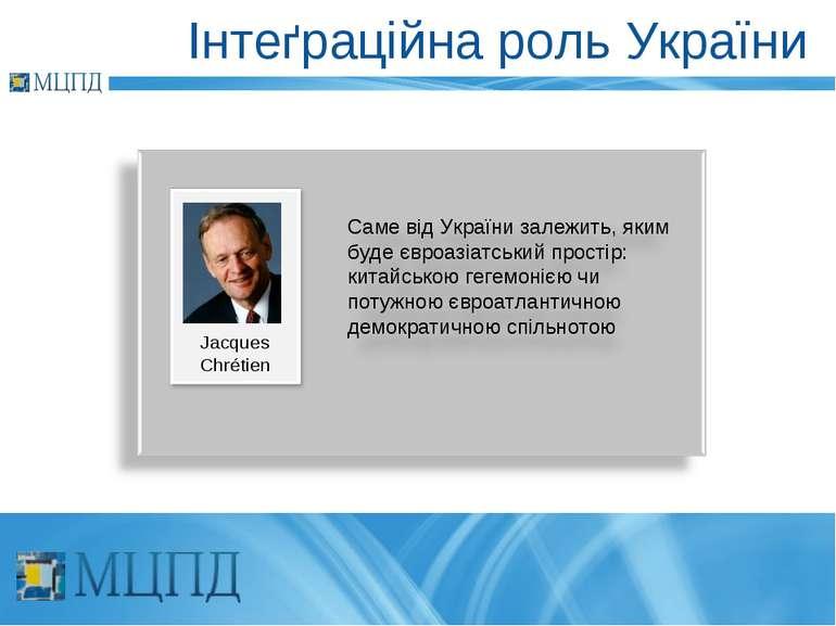 Інтеґраційна роль України Jacques Chrétien