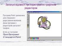 Загальні відомості про користування графічним редактором Програма Paint призн...